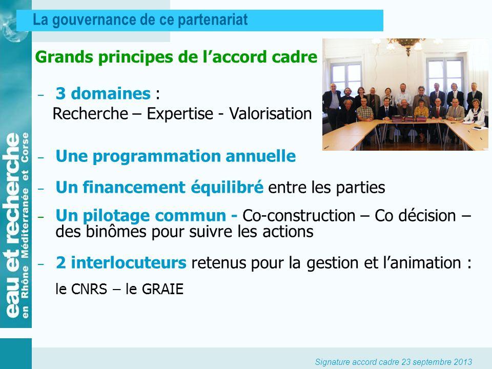 Grands principes de l'accord cadre
