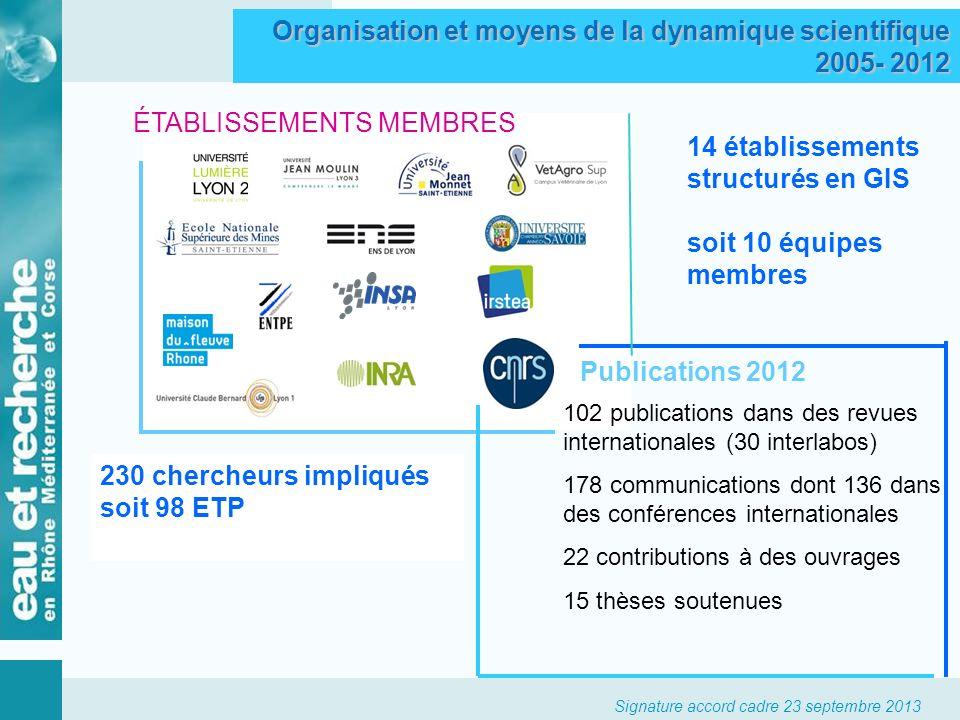 Organisation et moyens de la dynamique scientifique 2005- 2012