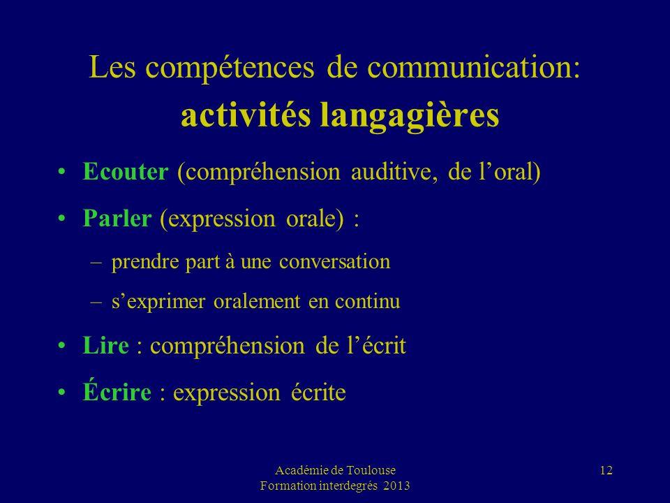 Les compétences de communication: activités langagières