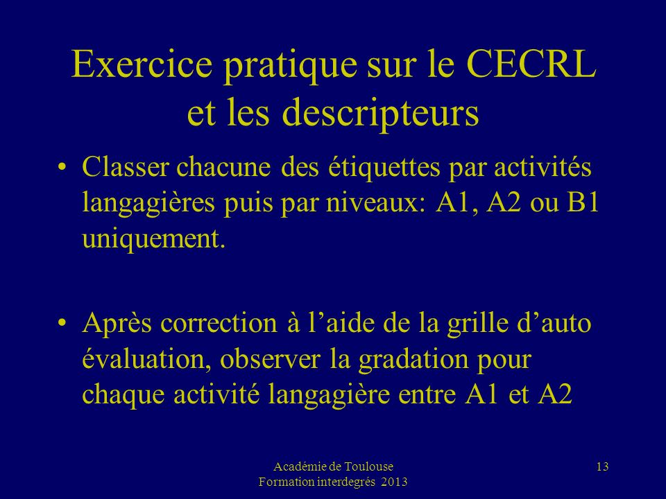 Exercice pratique sur le CECRL et les descripteurs