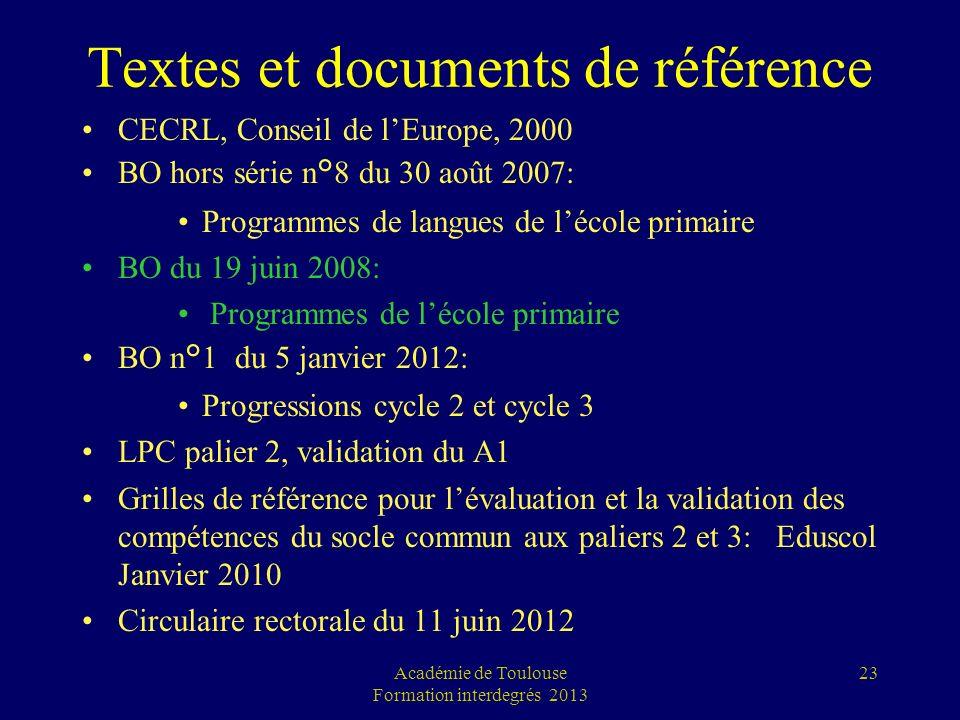 Textes et documents de référence