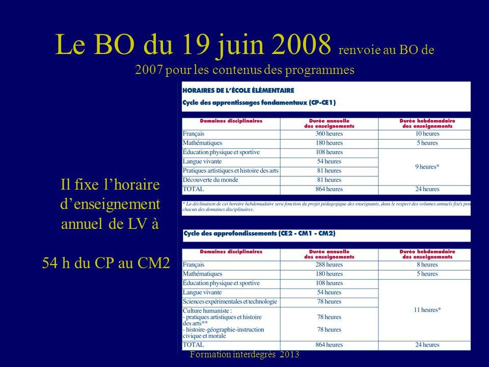 Le BO du 19 juin 2008 renvoie au BO de 2007 pour les contenus des programmes