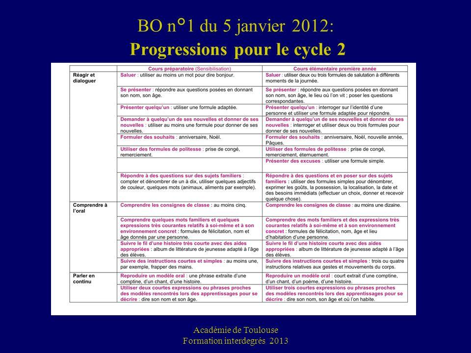 BO n°1 du 5 janvier 2012: Progressions pour le cycle 2