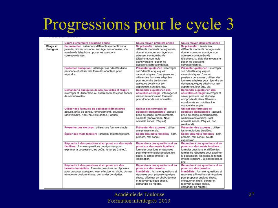 Progressions pour le cycle 3