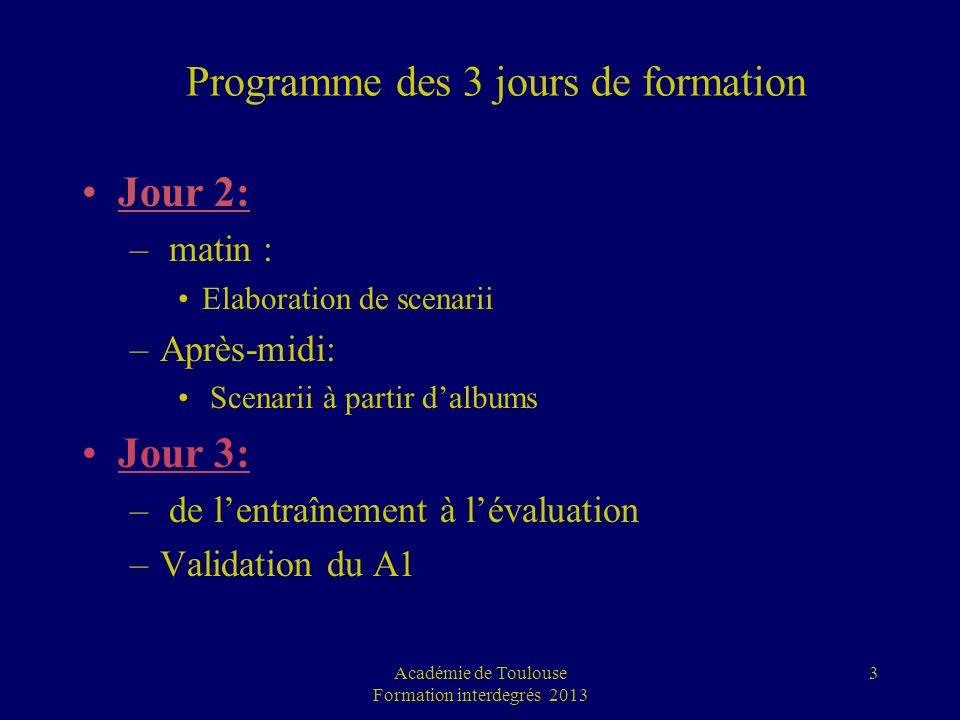 Programme des 3 jours de formation