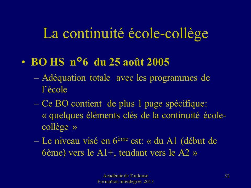La continuité école-collège