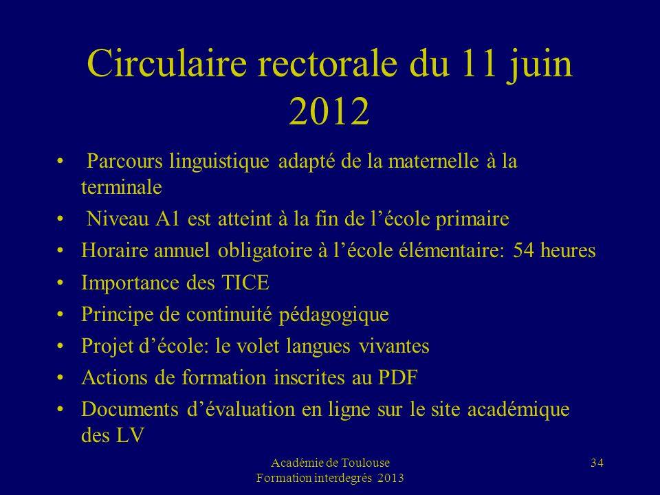 Circulaire rectorale du 11 juin 2012