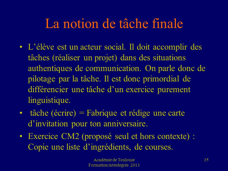 La notion de tâche finale