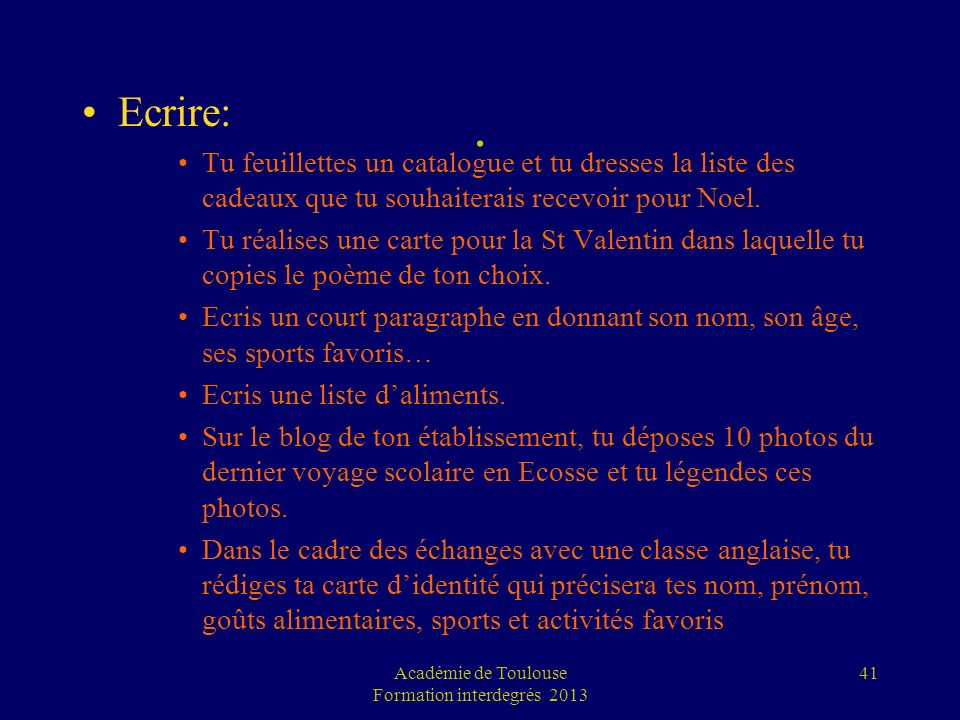 Académie de Toulouse Formation interdegrés 2013