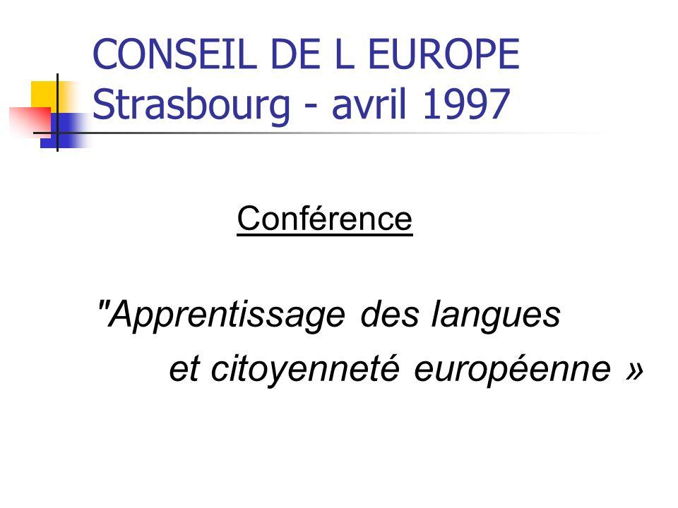 CONSEIL DE L EUROPE Strasbourg - avril 1997