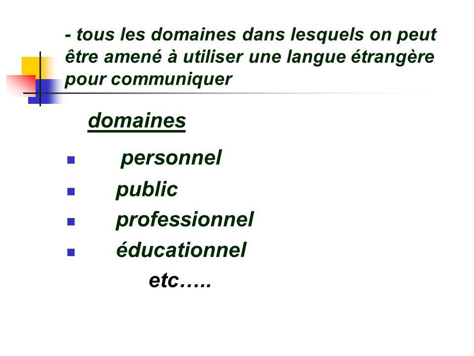 domaines personnel public professionnel éducationnel etc…..
