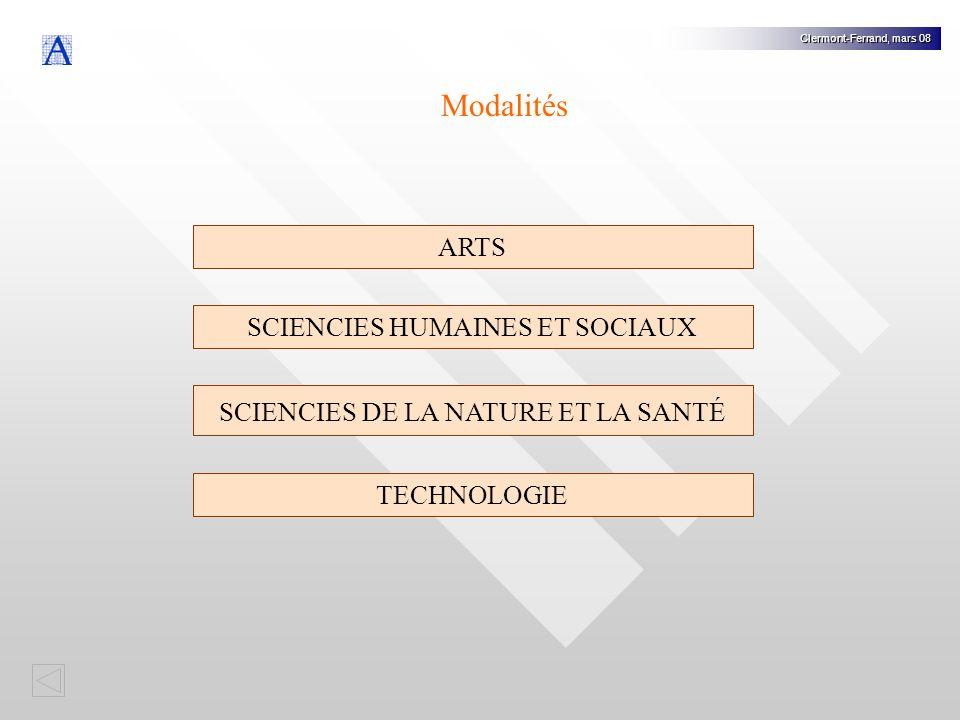Modalités ARTS SCIENCIES HUMAINES ET SOCIAUX
