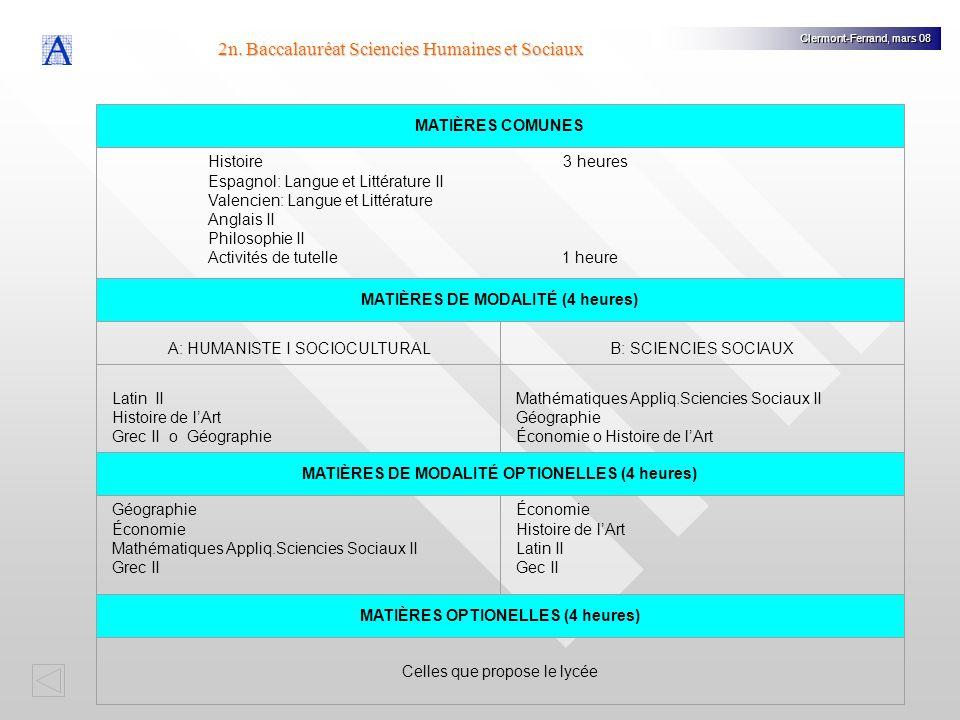 2n. Baccalauréat Sciencies Humaines et Sociaux