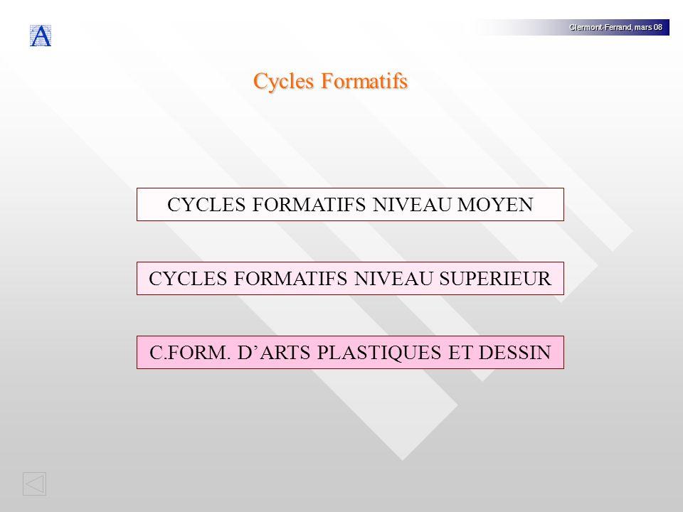Cycles Formatifs CYCLES FORMATIFS NIVEAU MOYEN