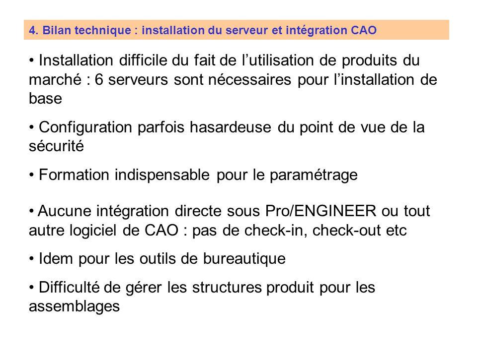4. Bilan technique : installation du serveur et intégration CAO