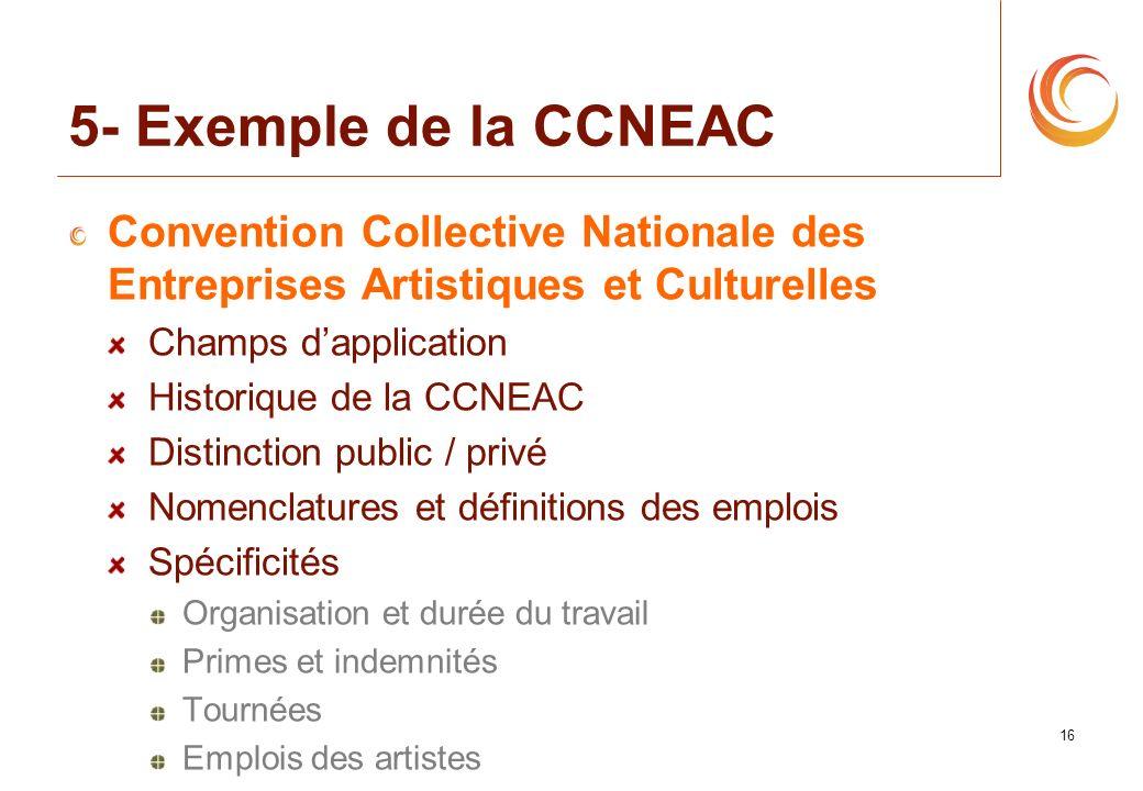 5- Exemple de la CCNEAC Convention Collective Nationale des Entreprises Artistiques et Culturelles.