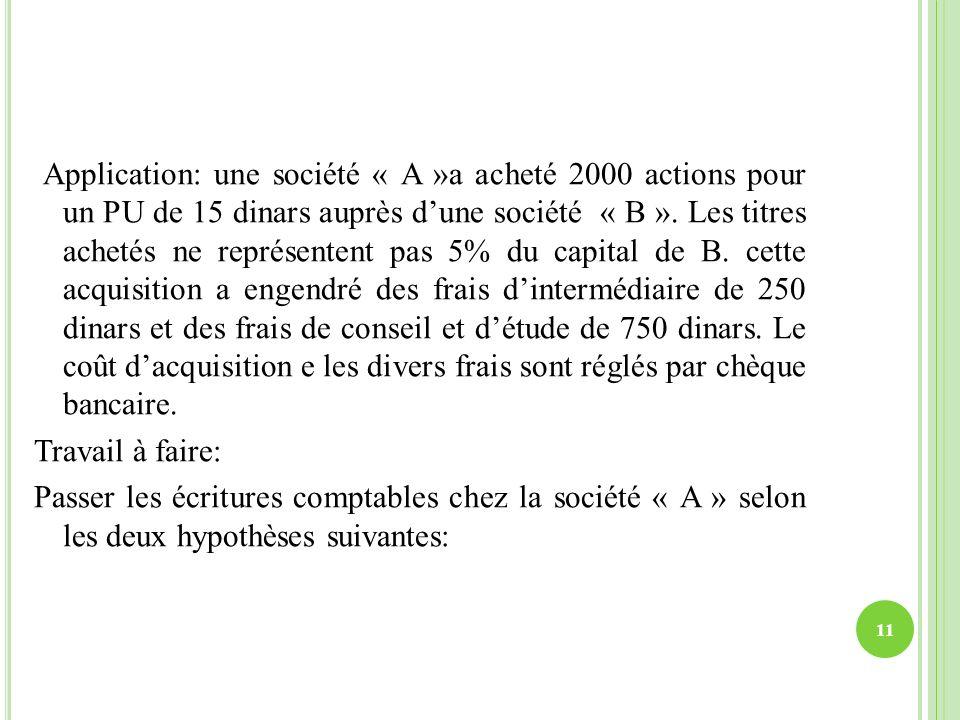 Application: une société « A »a acheté 2000 actions pour un PU de 15 dinars auprès d'une société « B ».