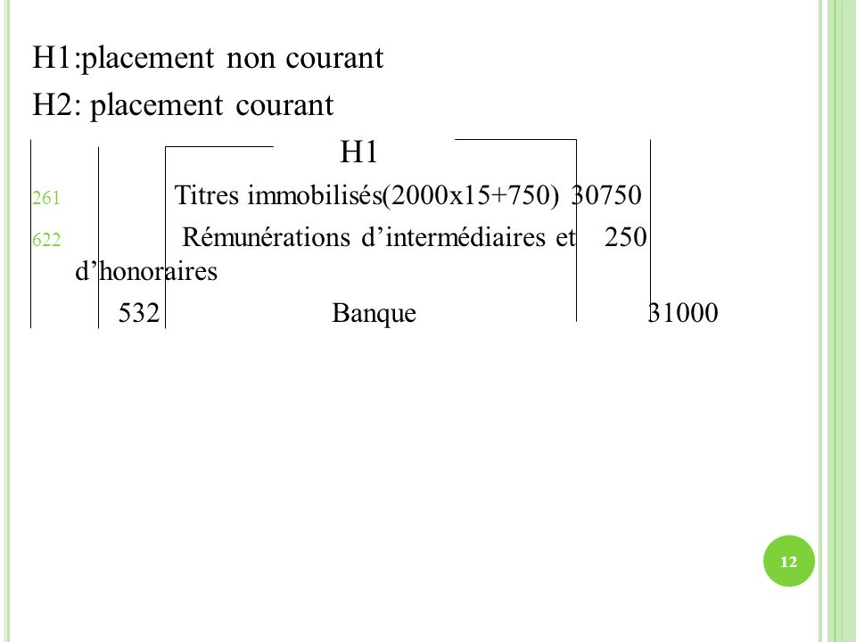 H1:placement non courant H2: placement courant H1