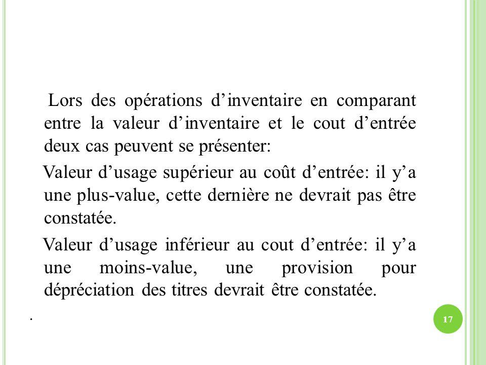 Lors des opérations d'inventaire en comparant entre la valeur d'inventaire et le cout d'entrée deux cas peuvent se présenter: