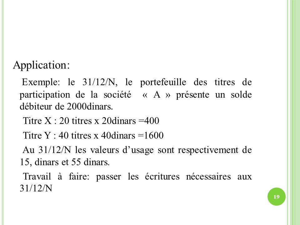 Application: Exemple: le 31/12/N, le portefeuille des titres de participation de la société « A » présente un solde débiteur de 2000dinars.