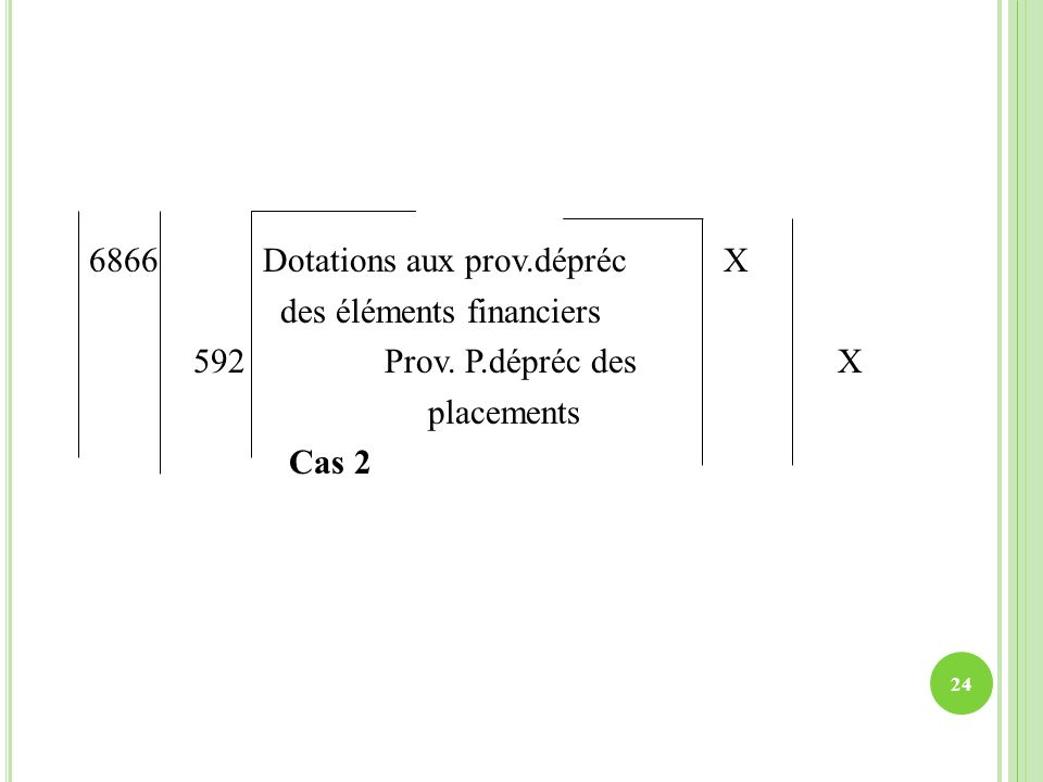 6866 Dotations aux prov. dépréc X des éléments financiers 592 Prov. P