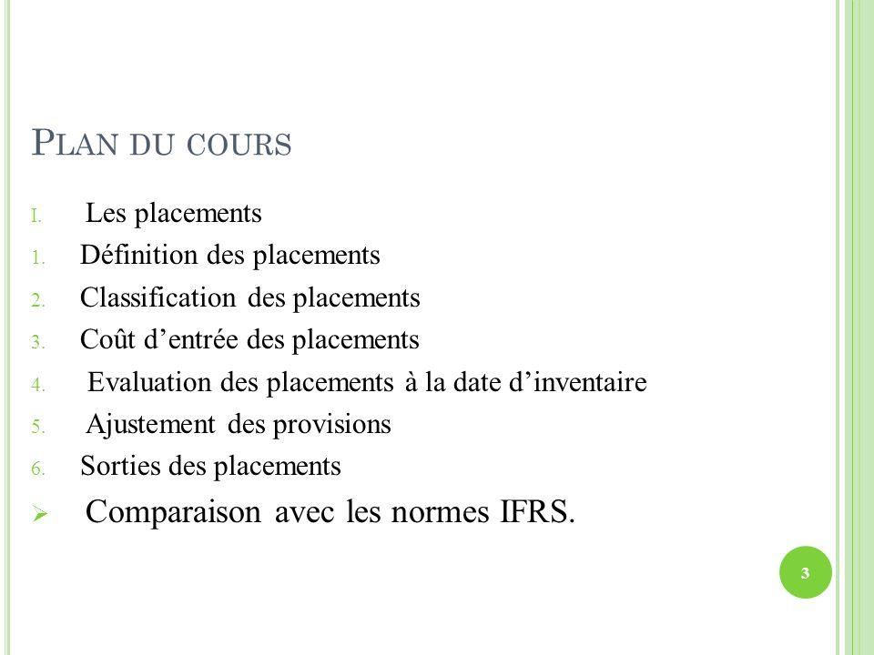 Plan du cours Comparaison avec les normes IFRS. Les placements