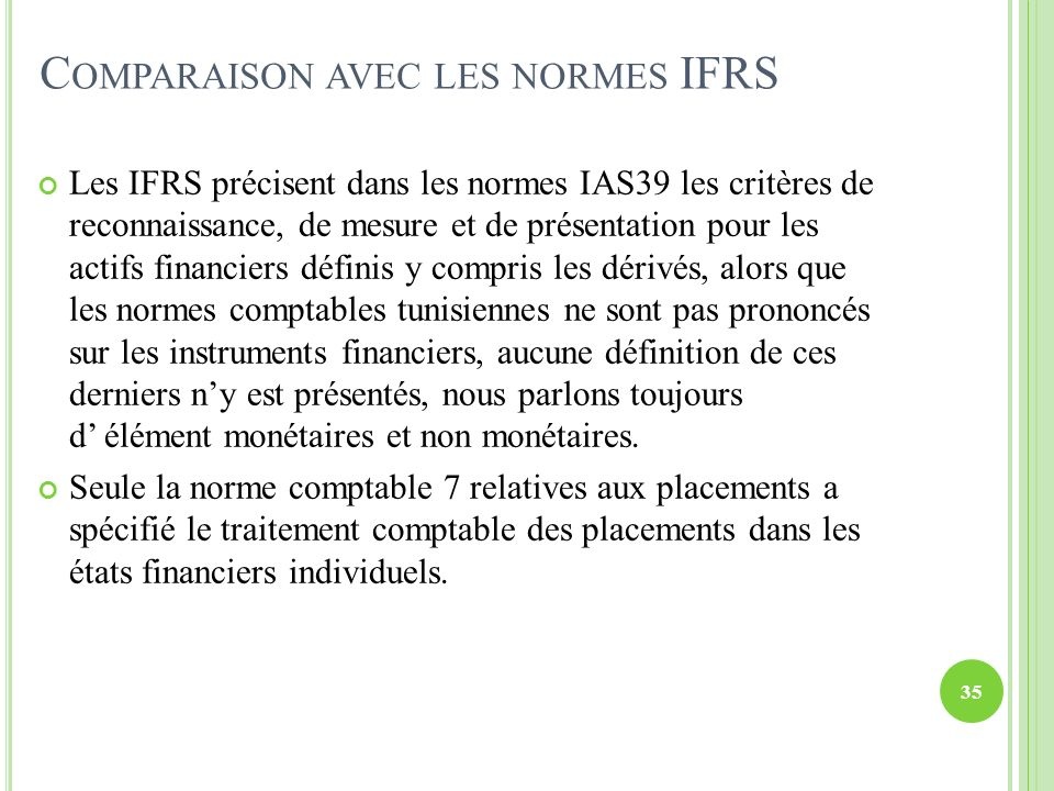 Comparaison avec les normes IFRS