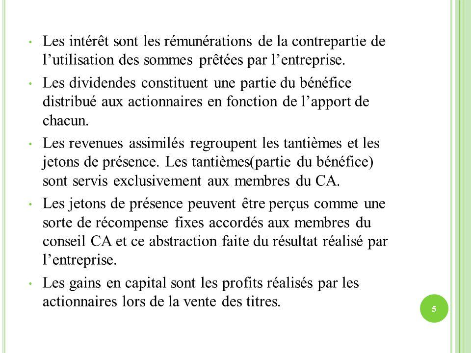 Les intérêt sont les rémunérations de la contrepartie de l'utilisation des sommes prêtées par l'entreprise.
