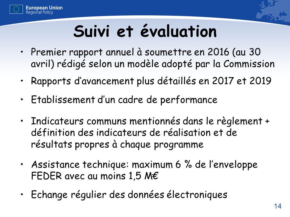Suivi et évaluation Premier rapport annuel à soumettre en 2016 (au 30 avril) rédigé selon un modèle adopté par la Commission.