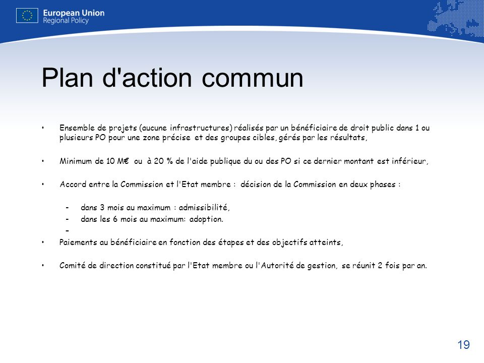 Plan d action commun