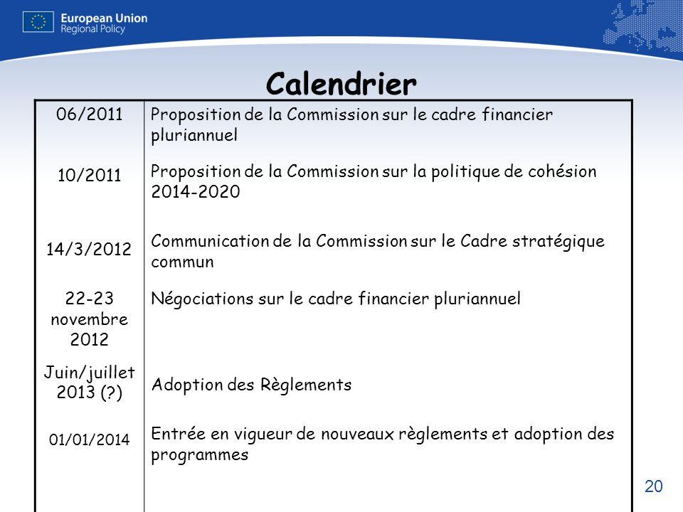 Calendrier 06/2011 10/2011 14/3/2012 22-23 novembre 2012