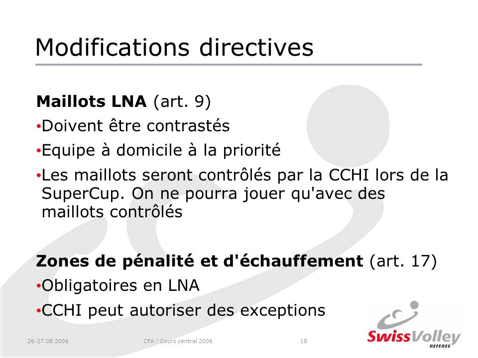 Modifications directives