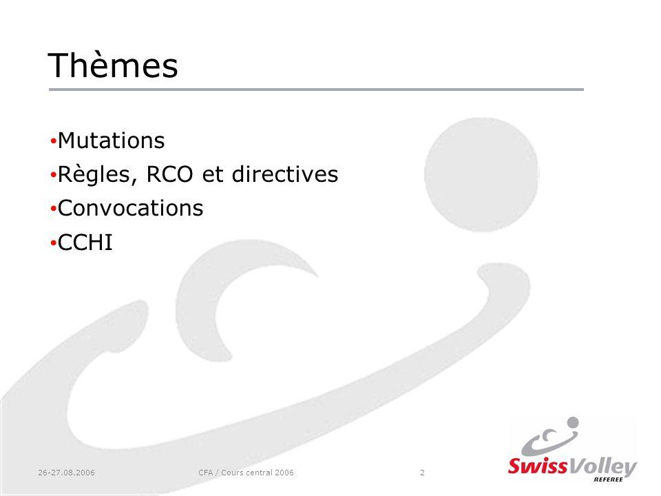 Thèmes Mutations Règles, RCO et directives Convocations CCHI