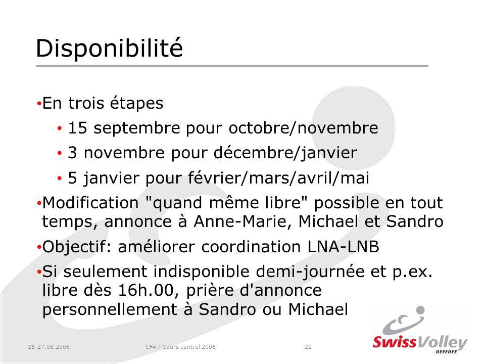 Disponibilité En trois étapes 15 septembre pour octobre/novembre