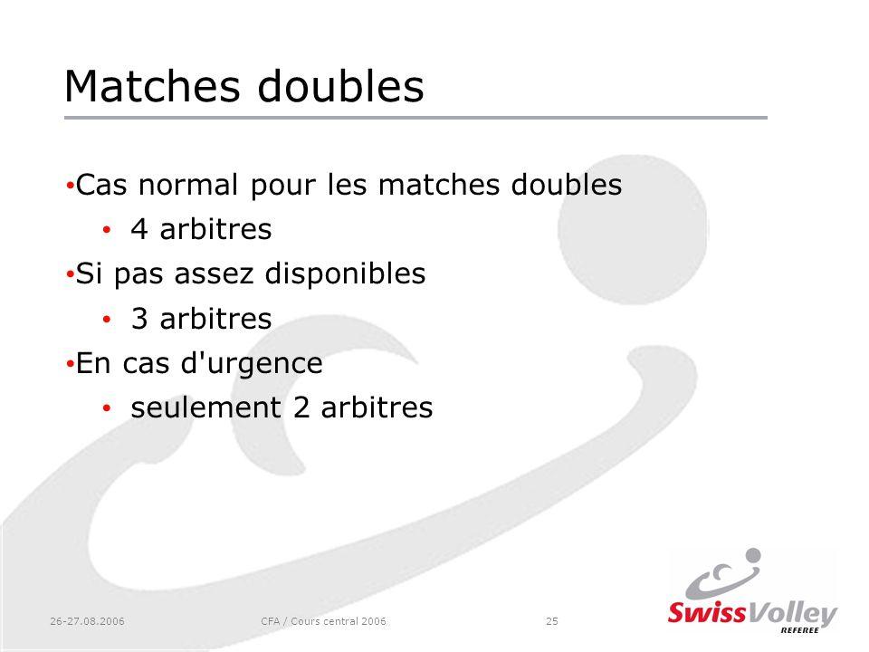 Matches doubles Cas normal pour les matches doubles 4 arbitres