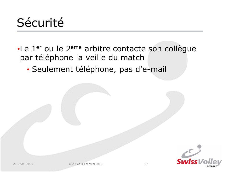 Sécurité Le 1er ou le 2ème arbitre contacte son collègue par téléphone la veille du match. Seulement téléphone, pas d e-mail.