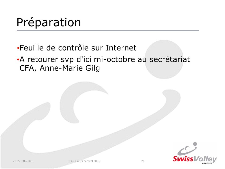 Préparation Feuille de contrôle sur Internet