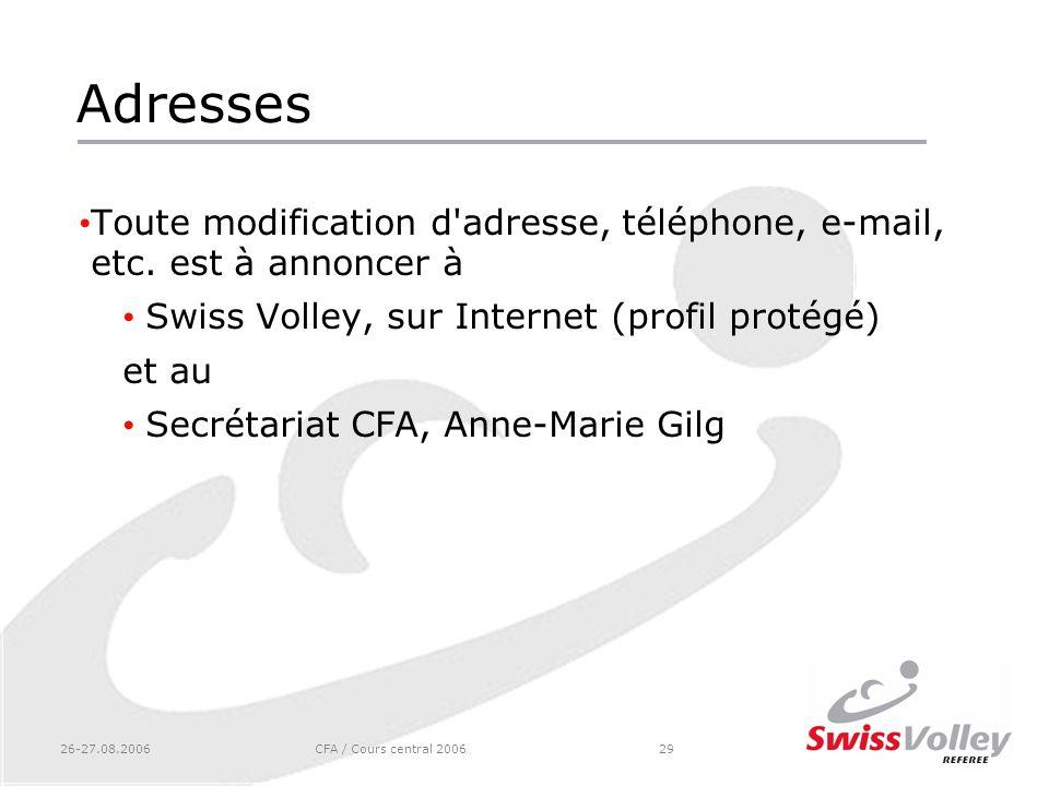 Adresses Toute modification d adresse, téléphone, e-mail, etc. est à annoncer à. Swiss Volley, sur Internet (profil protégé)