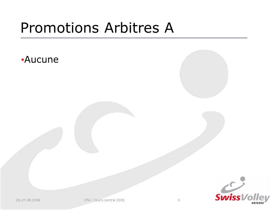 Promotions Arbitres A Aucune 26-27.08.2006 CFA / Cours central 2006