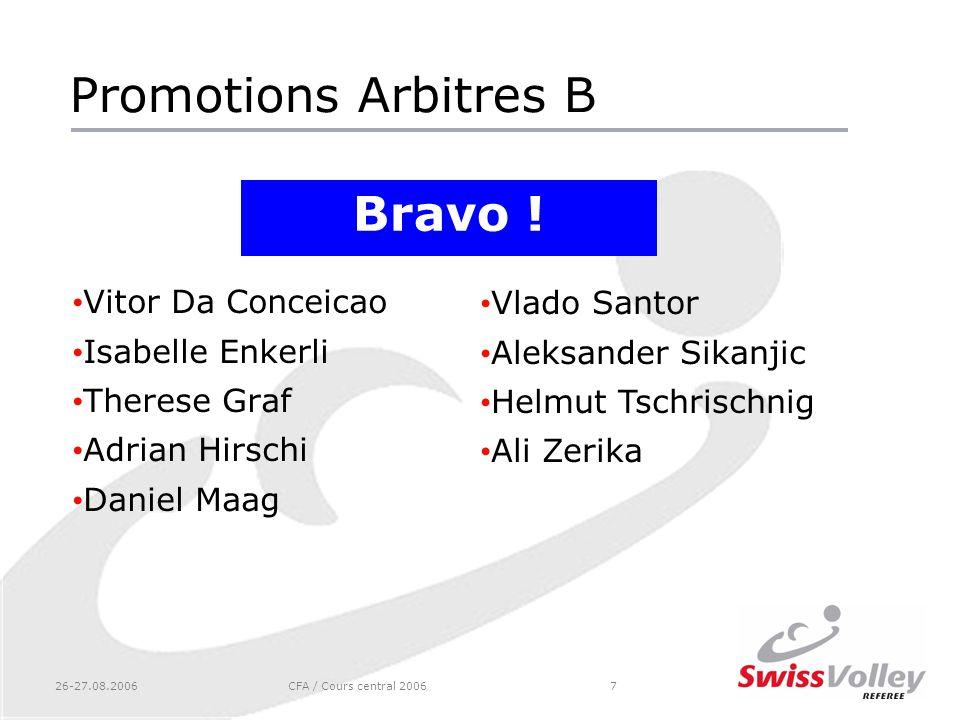 Promotions Arbitres B Bravo ! Vitor Da Conceicao Vlado Santor