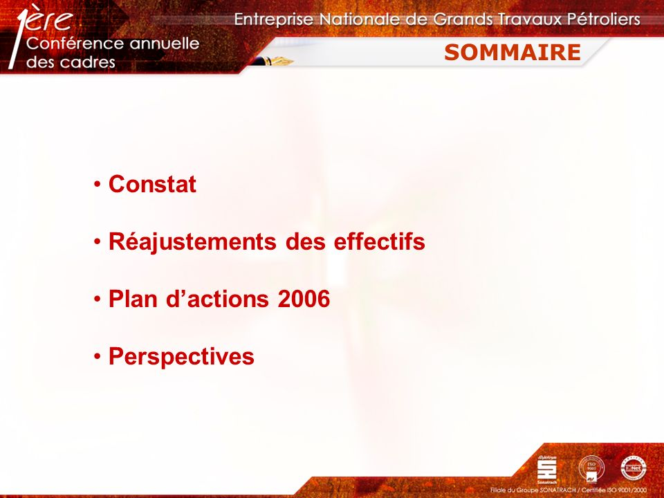Réajustements des effectifs Plan d'actions 2006 Perspectives