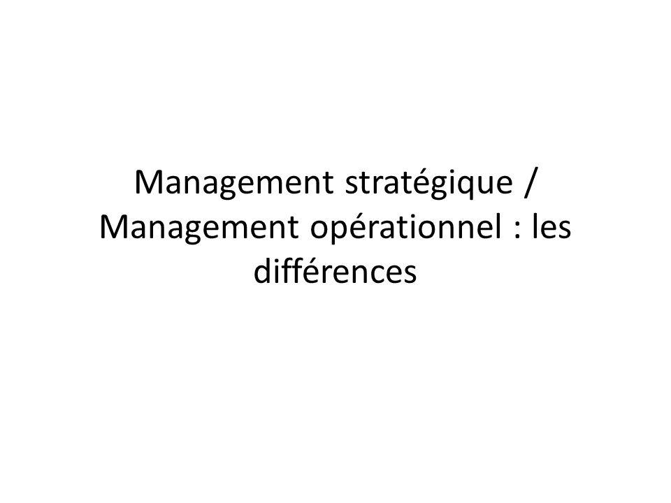 Management stratégique / Management opérationnel : les différences