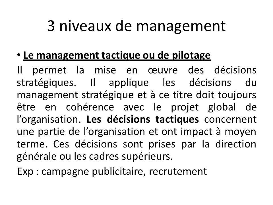 3 niveaux de management Le management tactique ou de pilotage