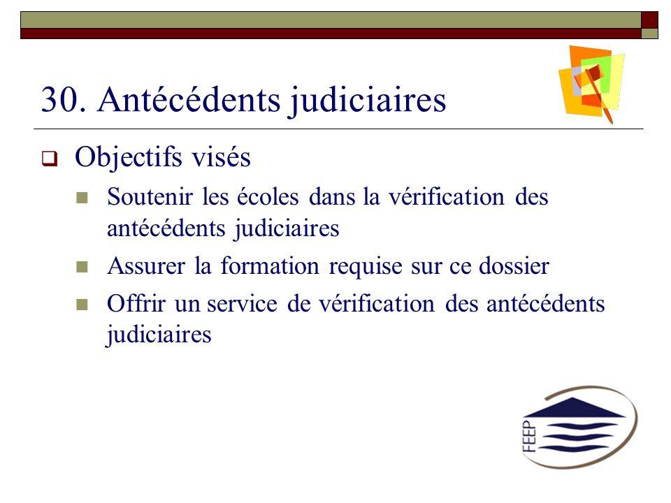 30. Antécédents judiciaires