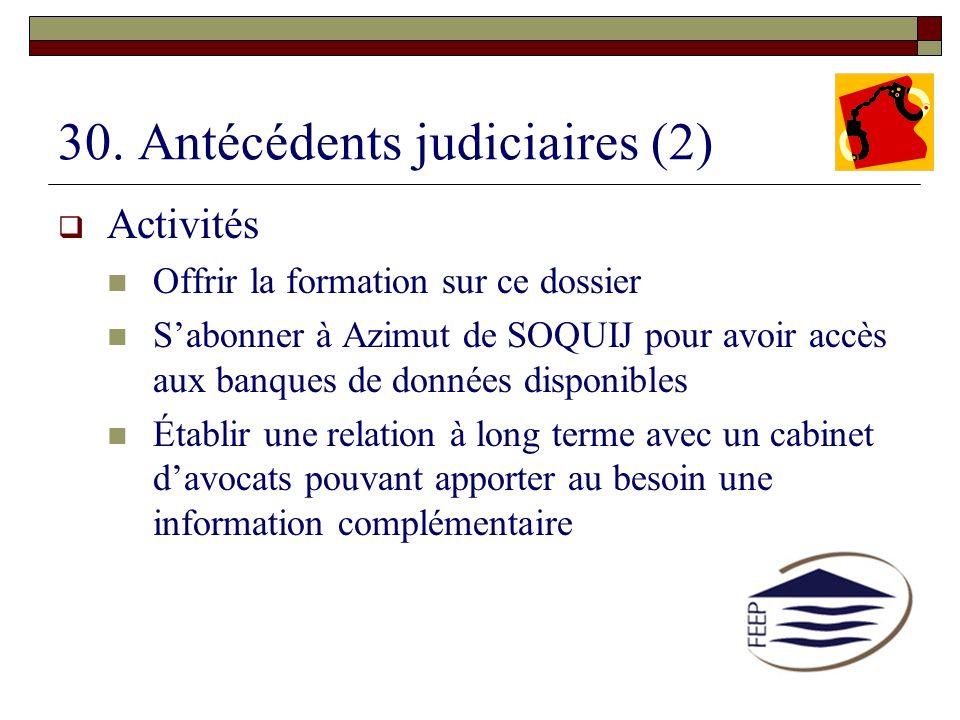 30. Antécédents judiciaires (2)