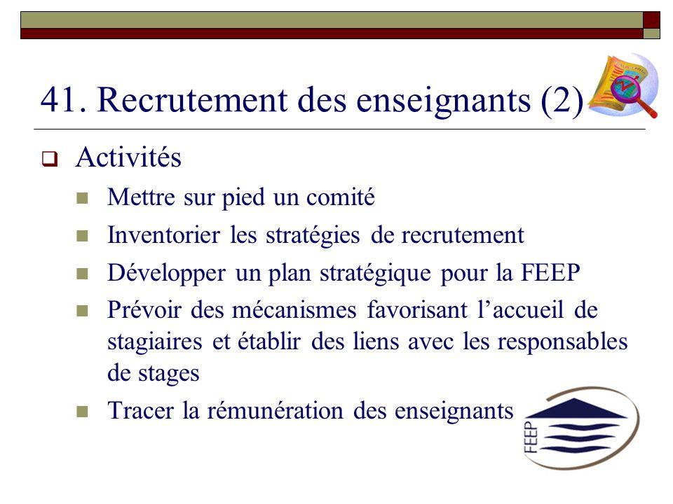 41. Recrutement des enseignants (2)