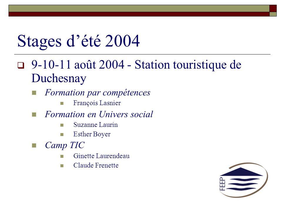 Stages d'été 2004 9-10-11 août 2004 - Station touristique de Duchesnay