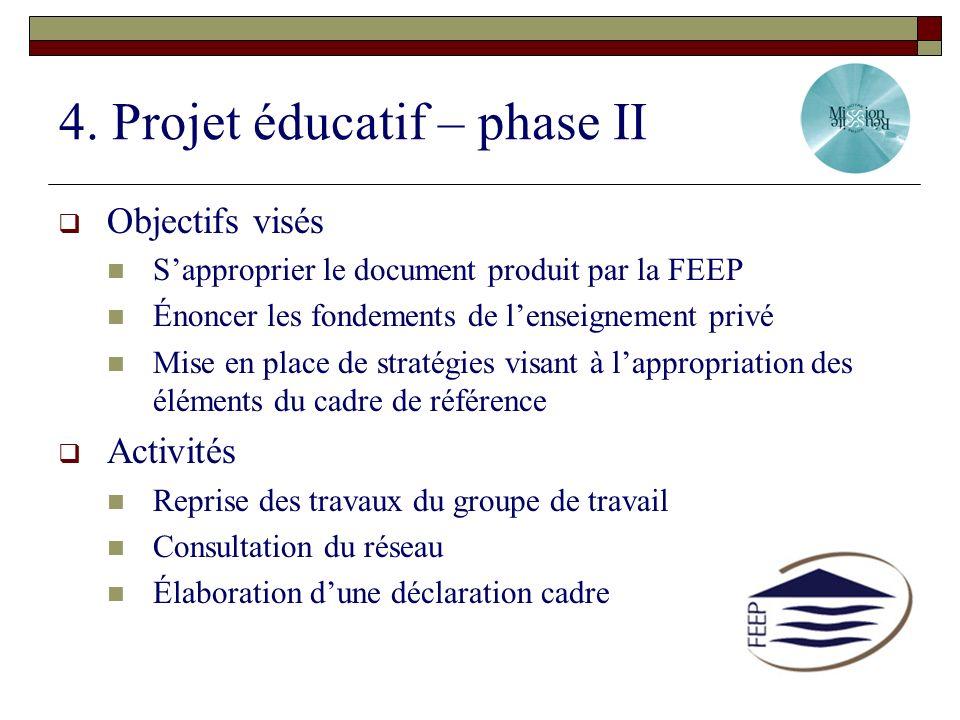 4. Projet éducatif – phase II