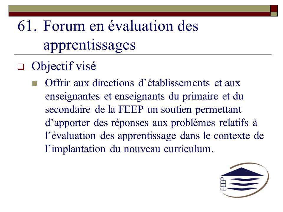 Forum en évaluation des apprentissages