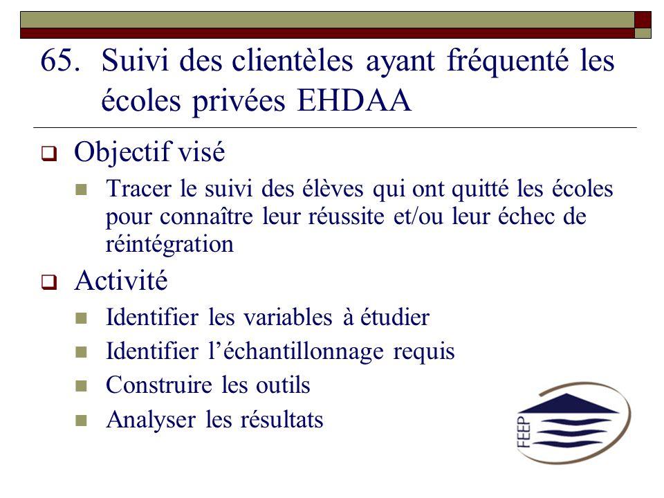 Suivi des clientèles ayant fréquenté les écoles privées EHDAA